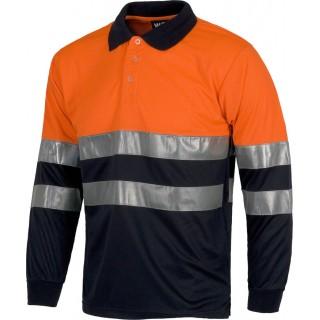 Polo bicolor alta visibilidad de manga larga