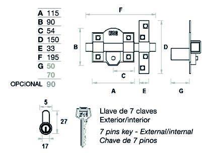 Cerrojo Fac 302L-115