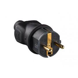 Enchufe para uso profesional 16A a 230V de caucho negro, clavija 2 polos+tierra 16A
