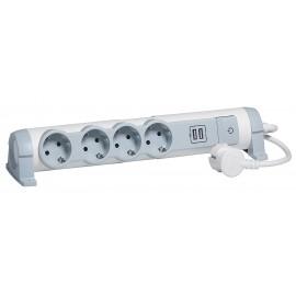 Regleta con control de interruptor encendido/apagado (LED) y ranuras USB, enchufes para fijación en pared y mesa