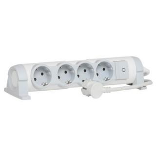 Regleta con 4 enchufes,  cable de 1,5mts, gama 'Confort', color blanco y gris, 4 tomas + interruptor