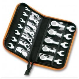 BETA Juego de 9 llaves combinadas con carraca reversible con soporte