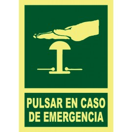 SIGNAL PULSAR EN CASO DE EMERGENCIA PHOTO LUMINESCENT PVC 29 x 21 cm